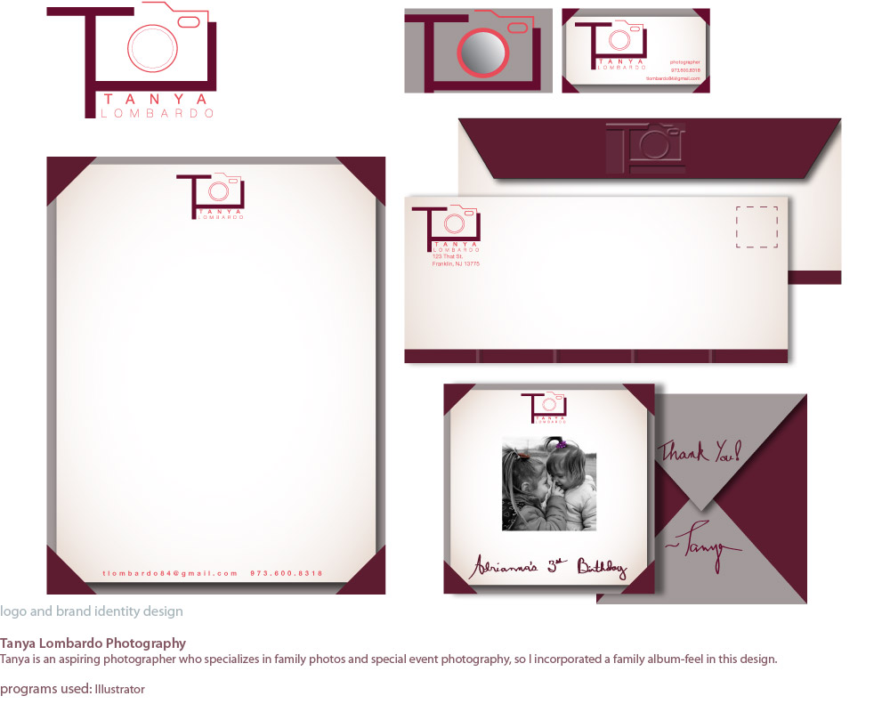 image of logo and stationary design for Tanya Lombardo, who is an aspiring photographer