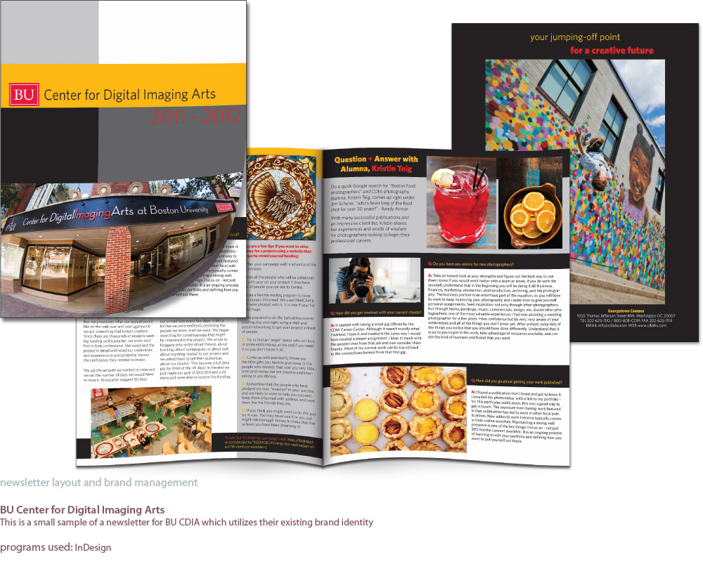 images of front, back and interior pages of a newsletter designed for BU Center for Digital Imaging Arts