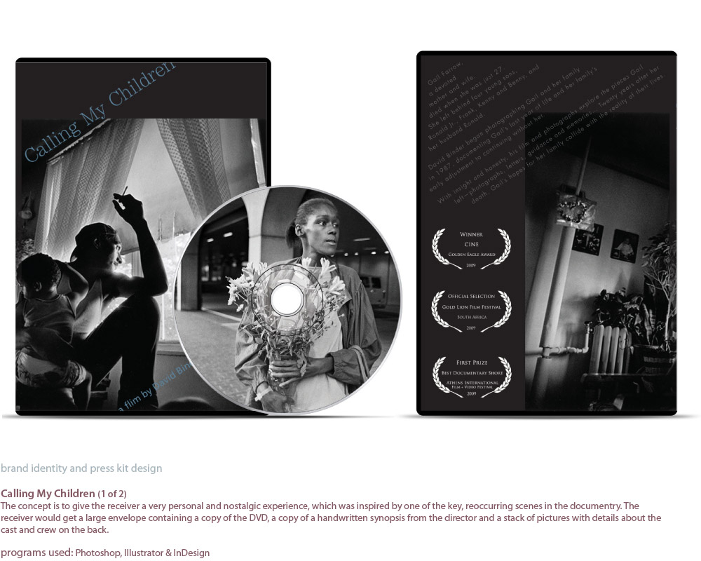 image of DVD and DVD cover designs for a press kit for the documentry film 'Calling My Children' by David Binder