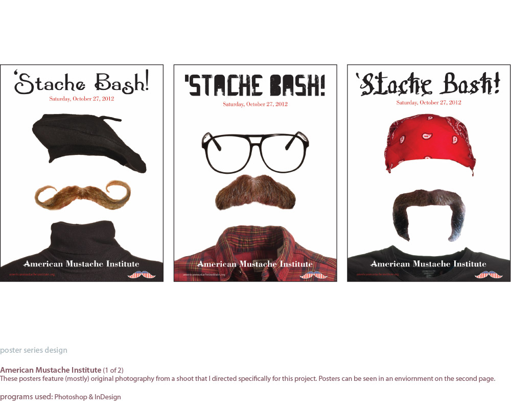 image of three poster series for the American Mustache Institute, which highlights the personality of the mustaches.