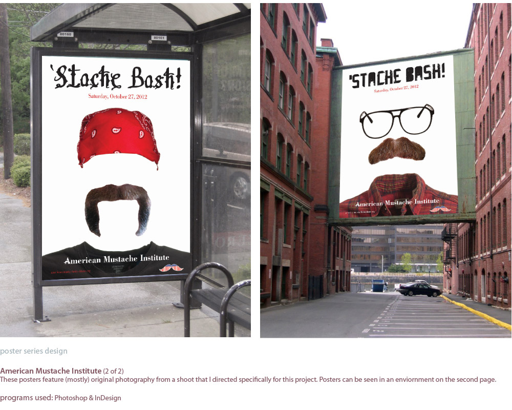 image of two of the mustache posters in enviornments, one on a bus shelter and another on a building