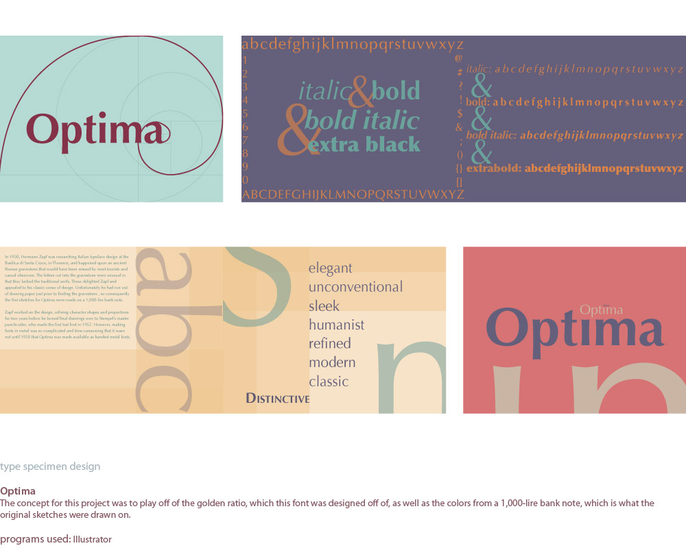 image of a type specimen that I designed for the typeface Optima.