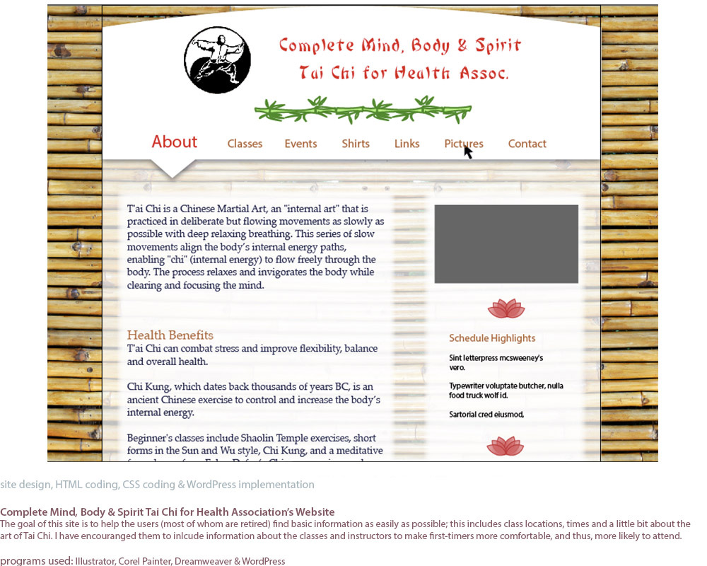 screenshots of a website I designed and built for Complete Mind, Body & Spirit Tai Chi. This is a screen shot of the design for the main landing page, the'About' page..
